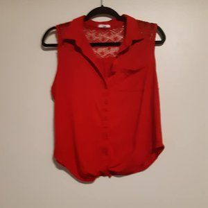 Ardene red sleeveless button up top or Blazer Top